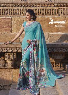 Splendid prints & border lace on this Georgette saree.
