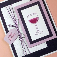 Birthday Card Wine Birthday Card Greeting by PuppyLoveCreations