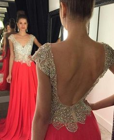 Gorgeous Backless Prom Dresses,Long Chiffon Prom Dress With Beaded Appliques Watermelon Graduation Gowns,Cheap Party Dresses\ Homecoming Dresses Long, Prom Dresses 2016, Backless Prom Dresses, Prom Dresses With Sleeves, Dresses For Teens, Sexy Dresses, Formal Dresses, Formal Prom, Prom Long