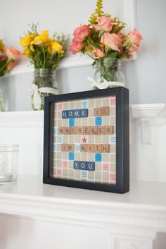 Too bad I just threw away two scrabble boards. Diy House Projects, Crafty Projects, Diy Wedding, Dream Wedding, Wedding Stuff, Wedding Ideas, Wedding Letters, Shadow Box Art, Heart Crafts