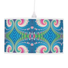 Blue Pink and Green Spiral Fractal Pendant Lamp