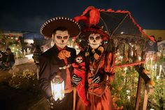 """Day of the Dead or """"Dia De Los Muertos"""" is a Mexican holiday where people get together to pray for and remember friends and family members who have passed away. The holiday itself dates back hundreds of years to an Aztec festival. The celebration includes elaborate costumes and a smorgasbord of traditional foods."""
