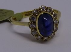 18ct CT YELLOW GOLD CABOCHON CUT SAPPHIRE AND DIAMOND RING SIZE I INCREDIBLE