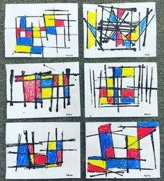I have done many different Piet Mondrian inspired art activities.  But this one is now my absolute favorite and so easy to do!  These were all done by Kindergarten and Grade One students.   The childr