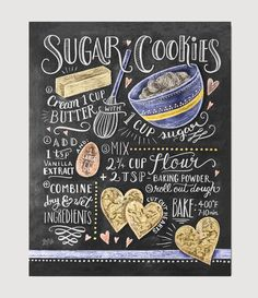 We make our sugar cookies in the shape of hearts because we absolutely love this recipe! If sweet and simple sugar cookies are your favorites, this hand illustr