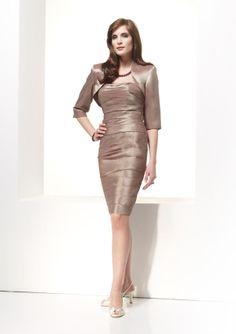 5c08bd46ddeaf Jean De Lys 29338 Taffeta strapless gathered short dress with 3 4 sleeve  bolero.