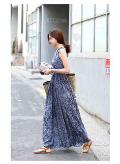 ワンピース・ドレス - 着心地よい純綿生地ボヘミア風小花柄プリント上質なマキシ丈ノースリーブゆったりワンピース