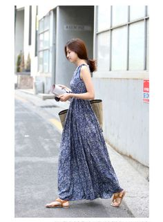 dbc9ceff63e ワンピース・ドレス - 着心地よい純綿生地ボヘミア風小花柄プリント上質なマキシ丈ノースリーブゆったりワンピース