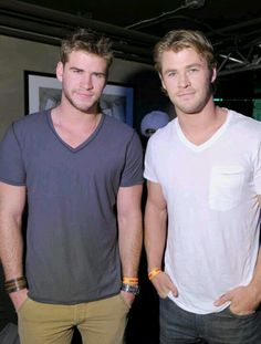 Liam Hemsworth and Chris Hemsworth ..... I had no idea thor had a brother... who wasn't loki.......... thats just..... a brother who was engaged to miley cirus.... *MIND HAS BEEN BLOWN* Why's everybody related somehow nowadays??? Lol