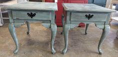 """Here is a pair of great vintage end tables. Perfect to add a little shabby chic color to your living room! You could also use them as nightstands too. What do you think?  The dimensions are 22"""" L, 27"""" W, 23"""" H. SOLD!! for $250"""