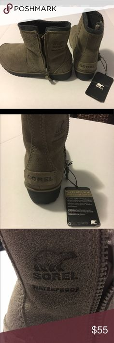 Sorel Meadow Suede Ankle Boots, Size 5, NEW NWOB Sorel waterproof boots. Zipper on the outsides of the boots. Sorel logo by the zipper. Sorel Shoes Winter & Rain Boots