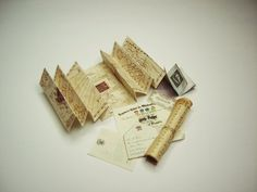 Miniature set for your Harry Potter dollhouse. Marauders Map, Hogwarts Letters and Hogwarts Express ticket, and more