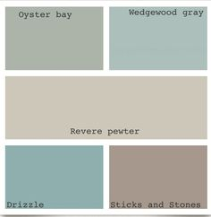SW and Benjamin Moore colors! Wedgewood gray and revere pewter are my faves...