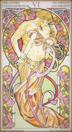 In honor of Venus retrograding through Gemini, and the second Gemini new moon . . . The Lovers, the tarot card associated with Gemini. This is from the Tarot Art Nouveau deck.