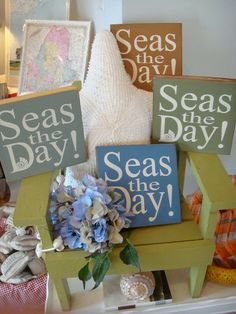 Small sea inspired gift: Seas the Day sign. $16 From Beach Grass.