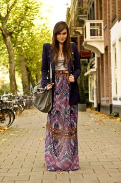 A pattern maxi skirt can be overwhelming; remember to anchor it with a jacket and basics.