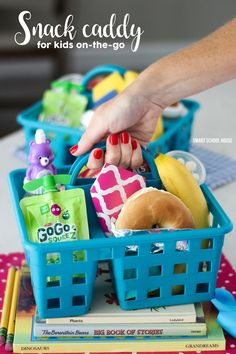 Snack Caddy to Go! Make one for kids on-the-go! After school snack ideas for busy kids and families. Use a shower caddy and fill it with great snacks to keep your busy kids fed on the go.