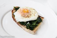 Add sauteed spinach or kale to an open-face egg sandwich. | 29 Ways To Eat More Veggies For Breakfast