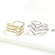 Three line chevron Ring Adjustable ringthumb by ClaraDesignStudio, $6.80