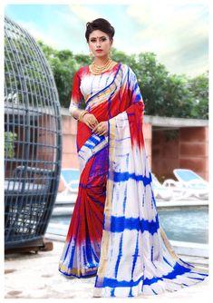 b3dcc6e238 Buy Craftsvilla Multicolor Silk Designer Tie Dyed Saree online. ✯ 100%  authentic products,