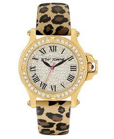 Betsey Johnson Watch, Women's Leopard Print Leather Strap 36mm BJ00031-18 - Womens - Macy's