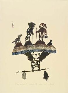 Pitseolak Ashoona Canadian, Old Women Speak of Owl, 1974 stonecut on paper, 86 x 63 cm Image: x 38 cm Collection of the Winnipeg Art Gallery; Gift of Indian & Northern Affairs, Canada Arte Inuit, Inuit Art, Native Art, Native American Art, Winnipeg Art Gallery, Canadian Art, Indigenous Art, Art Themes, Aboriginal Art