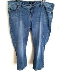 Torrid Destructed Denim Crops Plus Size 20 These Torrid Destructed Denim Crops are a Plus Size 20 in great used condition. They have a great faded blue color with intentional distressing, some hem fraying, and light whiskering. Waist measures 21.5 inches across laying flat, so 43 inches around, and has some stretch. Cropped length: 23.5 inch inseam. ::: Bundle 3+ items from my closet and save 30% off when you use the app's Bundle feature! ::: No trades. torrid Jeans Ankle & Cropped