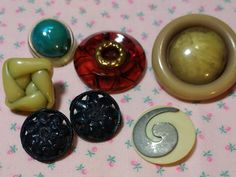 Assortment of 7 Vintage Celluloid & Bakelite Buttons by BygoneButtonBoutique on Etsy