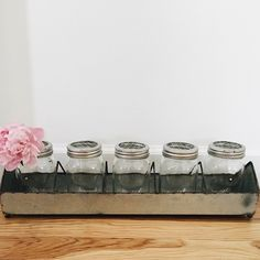 Metal Tray With Grid Lid Glass Jars | Antique Farmhouse