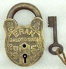 1940s Original Vintage Fine Engraved Brass Pad Lock Aligarh India