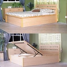 Double Bed, King Size Bed, Queen Size Bed, Storage Bed, Platform Beds- DIY Idea Ambrosia's bed in Germany was like this. Home Bedroom, Bedroom Furniture, Diy Furniture, Bedrooms, Lit Plate-forme Diy, Diy Storage Bed, Extra Storage, Ideas Dormitorios, Child Room
