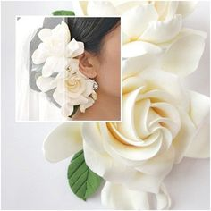 Two Wedding Gardenia hair clips. White Ivory by FlowersofSharon