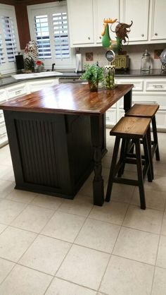 """Built this Kitchen Island and stools. The base of the cabinet and stools are finished in Chalk paint. Bottom coach of Barn Red and top coat of tole black. Cabinet top is just 2x6 pine lumber that I ran through a 12"""" planer to get a consistent flat surface. Pick dry lumber or your top will warp."""