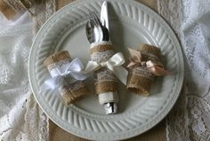 Burlap and lace silverware holders by Bannerbanquet on Etsy