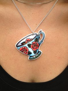 Vintage Rose Teacup Pendant. Tattoo Jewellery. by MrCurtisDesigns, $12.90