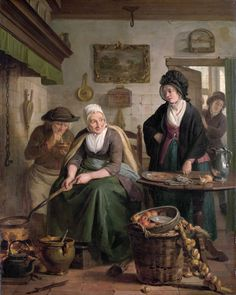 The Pancake Cook by Adriaan de Lelie. Detail: tea pot, hearth, tile floor, ladies shoe, foot warmer, fry pan, large jar, basket, plate, apples, onions, table , rag, pitcher, cook, servant, simple servants clothing, apron, mens hat,  smoking pipe, fire lighter, ember bowl, fireplace chain, bellows, short gown, shawl, cape, ladies cloth cap, brass frying pan, bird cage, door, window, curtain, ceiling hook, food, pancake. Adriaan de Lelie (1755-1820).