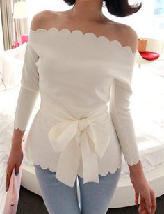 Glamorous Brocade White Sexy Style Off-the-shoulder Long Sleeve Tops
