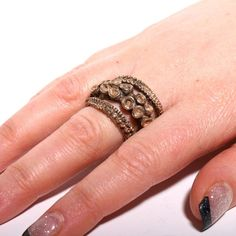 Beautiful Double Octopus Ring made of Brass by zulasurfing on Etsy