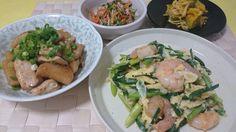 ✧海老とアスパラとにらの玉子炒め ✧鶏肉と長芋の照り煮 ✧豆苗の塩麹サラダ ✧かぼちゃときのこの味噌マヨ和え