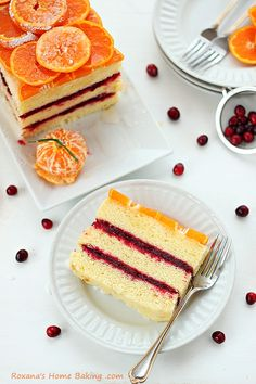 Citrus cranberry layer cake from Roxanashomebaking.com -  a light and refreshing citrus cake sandwiched with tart cranberry sauce for an explosion of flavors and textures