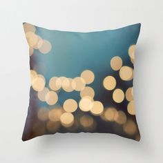 Pillow Cover, Blue Monday, Bokeh Lights Photo, Photography Pillow, Home Decor,  Living Room, Bedroom, 16x16, 18x18