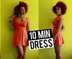 How To DIY a Summer Skater Dress in 10 min - This tutorial makes it look so easy! I wish I had a sewing machine.