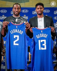 Kawhi Leonard & Paul George Los Angeles Clippers Jersey Reveal Basketball x PhotoOfficially licensed photo includes Clippers superstars Kawhi Leonard & Paul GeorgeThis image shows Clippers superstars Kawhi Leonard & Paul Ge. Basketball Leagues, Basketball Jersey, Basketball Players, Basketball Art, Nba Western Conference, Basketball Drawings, Lou Williams, Small Forward, Baskets