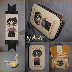 Free cross stitch patterns of Harry Potter and friends.  Can be used on Altoid tins and bookmarks.