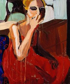 >Chantal Joffe  GIRL IN A RED DRESS, SMOKING, 2007  Oil on board  24 x 20 inches  61 x 50.8 centimeters  CR# CJ.14831