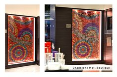 Nespresso Chadstone Boutique capsule art - This installation was created by Balarinji Design Studio with proceeds going to Indi Kindi, an Aboriginal pre-literacy program. Take a closer look next time you're in a boutique!