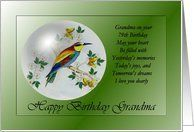 79th / Grandma /Happy Birthday ~ Bee Eater / Bird in a Bubble Card by Greeting Card Universe. $3.00. 5 x 7 inch premium quality folded paper greeting card. Birthday cards & photo Birthday cards from Greeting Card Universe will bring a smile to your loved ones' face. We will mail the cards to you or direct to your loved ones. Allow Greeting Card Universe to handle all your Birthday card needs this year. This paper card includes the following themes: 79th Birthday,...