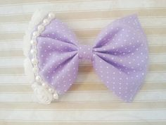 Purple Fairy Kei Bow - Pastel Goth - Lilac Polka Dot Hair Clip With Pearls and White Fabric Flowers on Etsy, $12.00