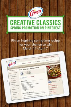 Enter the Crisco® Creative Classics Spring Promotion March 17–April 7. Click the image to get started. #CreativeClassics #Crisco See Official Rules for complete details here: http://crisco.com/news/crisco-contests-promotions/pinterest-recipe-promotion/rules.aspx