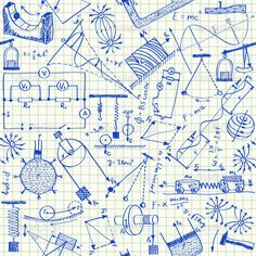 Physics doodles on school squared paper, seamless pattern — Vector by kytalpa